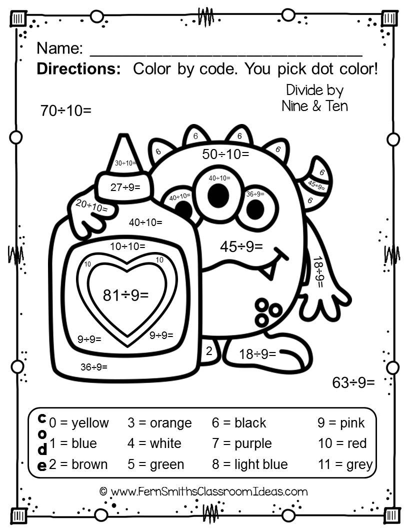 color by number st valentine 39 s day love monsters division division math and worksheets. Black Bedroom Furniture Sets. Home Design Ideas