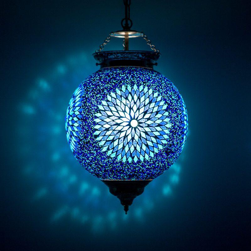 Oosterse Hanglamp Blauw Mozaiek Oosterse Inrichting Arabische Lampen Hanglamp Lampen Mozaiek