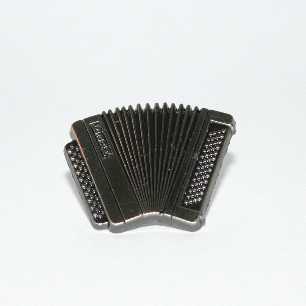 This is the Antique Nickel accordion pin badge - £5.