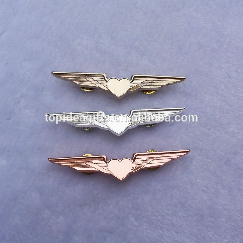 Rose Gold Sublimation Blank Airlines Love Heart Pilot Wings
