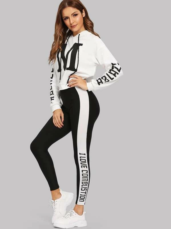 Set De Capucha Con Estampado De Letras Y Leggins Moda De Mujer Shein Mexico Ropa Deportiva Mujer Nike Moda Deportiva Para Mujer Ropa Deportiva Mujer