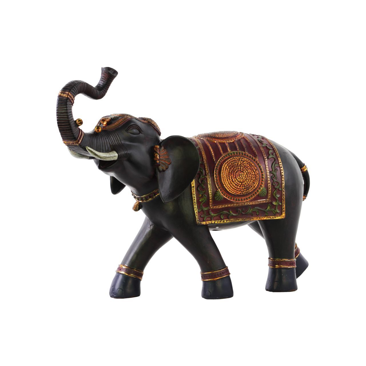 Urban Trends Collection Walking Trumpeting Indian Elephant Figurine With  Red Blanket Painted Finish Espresso