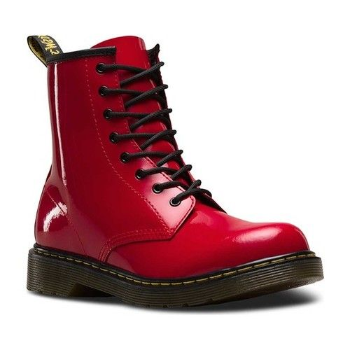 adc9b24fab Children's Dr. Martens Delaney 8 Eye Side Zip Boot - Youth - Red Patent Lamper  Boots