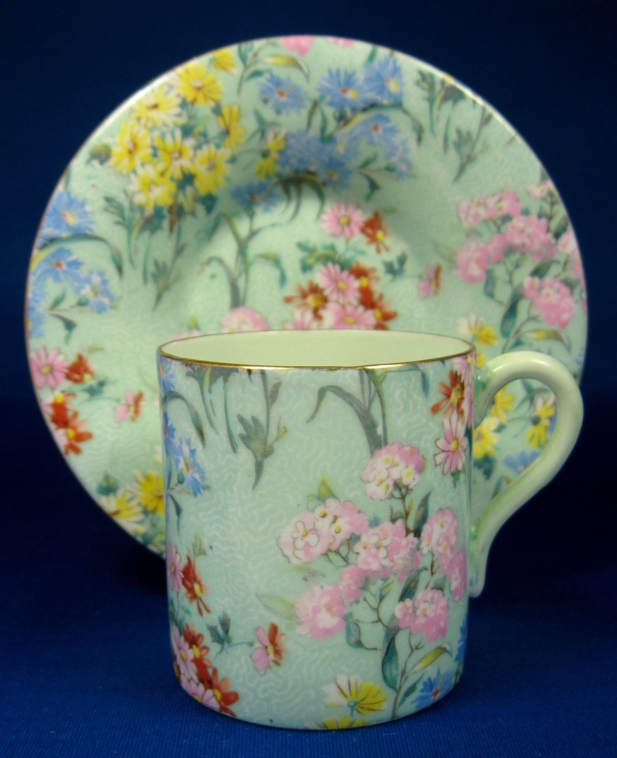 Vintage Green Melody Chintz Shelley Cup And Saucer Mocha Demitasse.