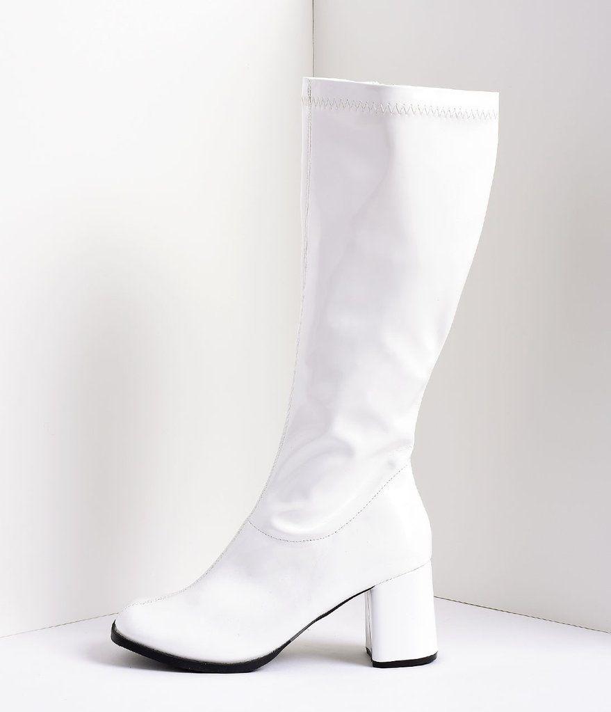 35e733ff60a White Stretch Patent Knee High Go Go Boots