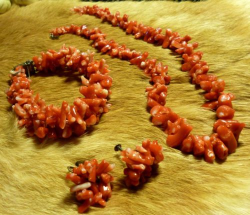 SOLD! True Vintage Branch Red Coral Necklace Earrings Bracelet Set 40s Hand Cut, MINT Condition! $189.95 obo