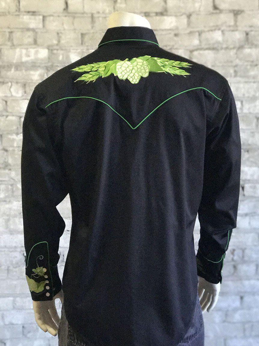 1285f1710ab Men's Black Vintage Hops Embroidered Western Shirt | Sk8 Gr8 Designs ...