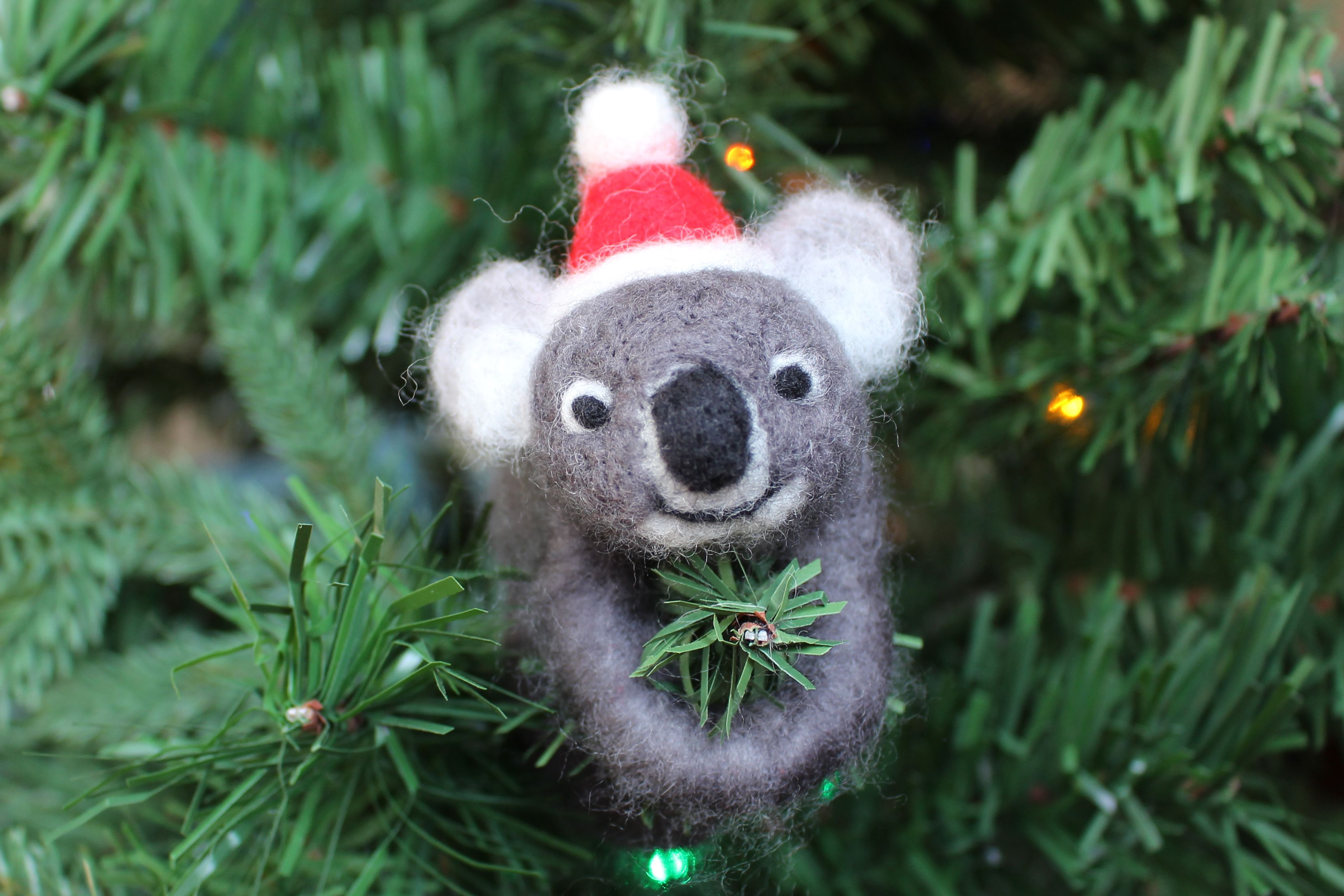 Needlefelted Koala ornament for your Christmas tree Oggetti