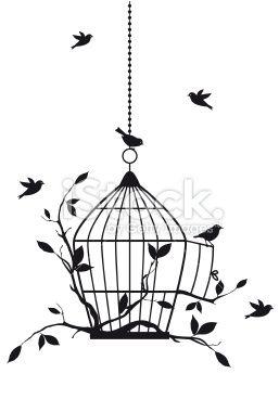 Free Birds With Open Birdcage Vector Background Illustration Bird Cage Bird Outline Art