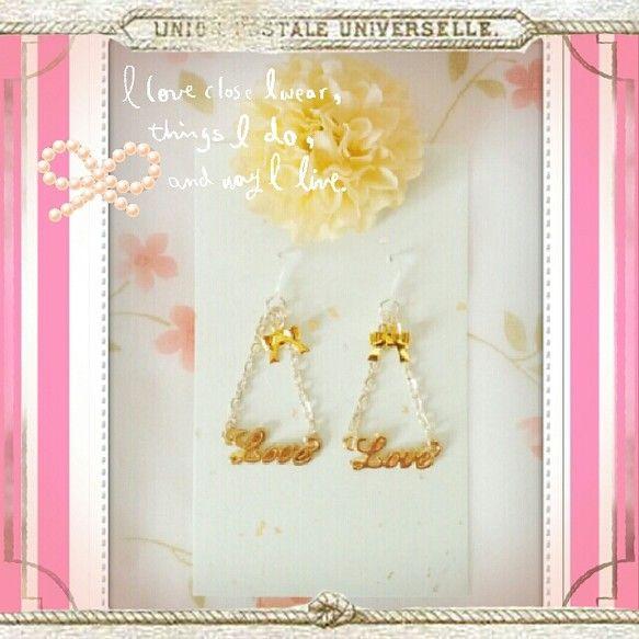 ◆サイズ全長(ピアス含む) 約4.5cm綺麗可愛い女子スタイルに似合うお上品なピアスです**LOVEのチャームが可愛いらしさを演出してくれています♪また、人気... ハンドメイド、手作り、手仕事品の通販・販売・購入ならCreema。