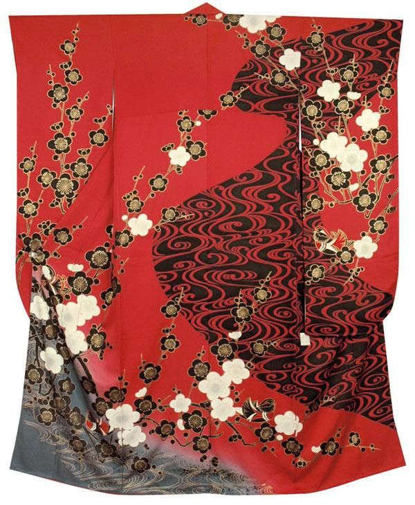 Gold and white ume on red background with black and red for Vater japones