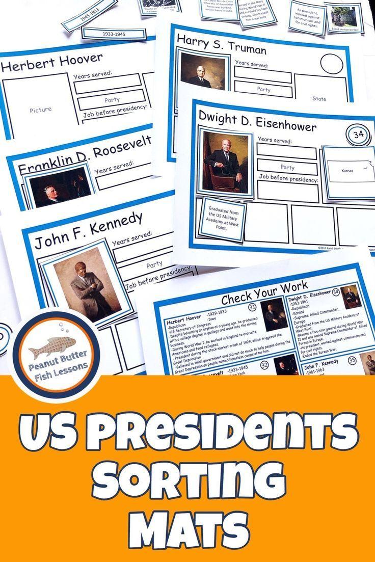 US President Sorting Mats: Full Set of 45 Presidents #presidents
