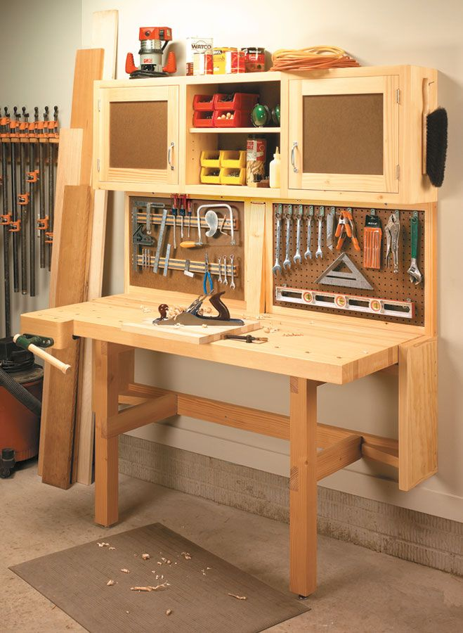 Fold-Down Workstation | Woodsmith Plans - This workstation has it all — a space-saving, fold ...