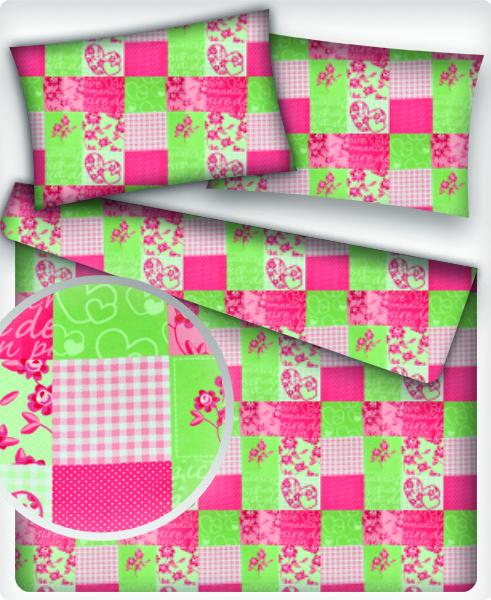 f1123c355a8c Bavlněné látky PATCHWORK růžovo-zelený
