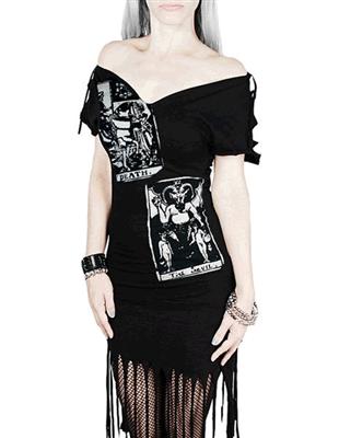 Rockin' Bones Death & Devil Tarot Gothic Occult Fringe Dress - #infectiousthreads #goth #gothic #horrorpunk #punk #alt #alternative #psychobilly #punkrock #black #fashion #clothes #clothing #darkfashion #streetfashion #girlsdresses #womensdresses #fringedresses #tarot #tarotdresses