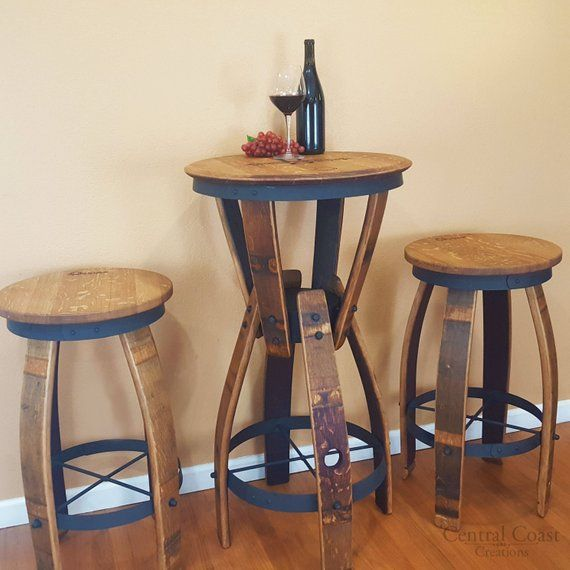 Prime Wine Barrel Hourglass Pub Set Swivel Top Stools Rustic Gmtry Best Dining Table And Chair Ideas Images Gmtryco