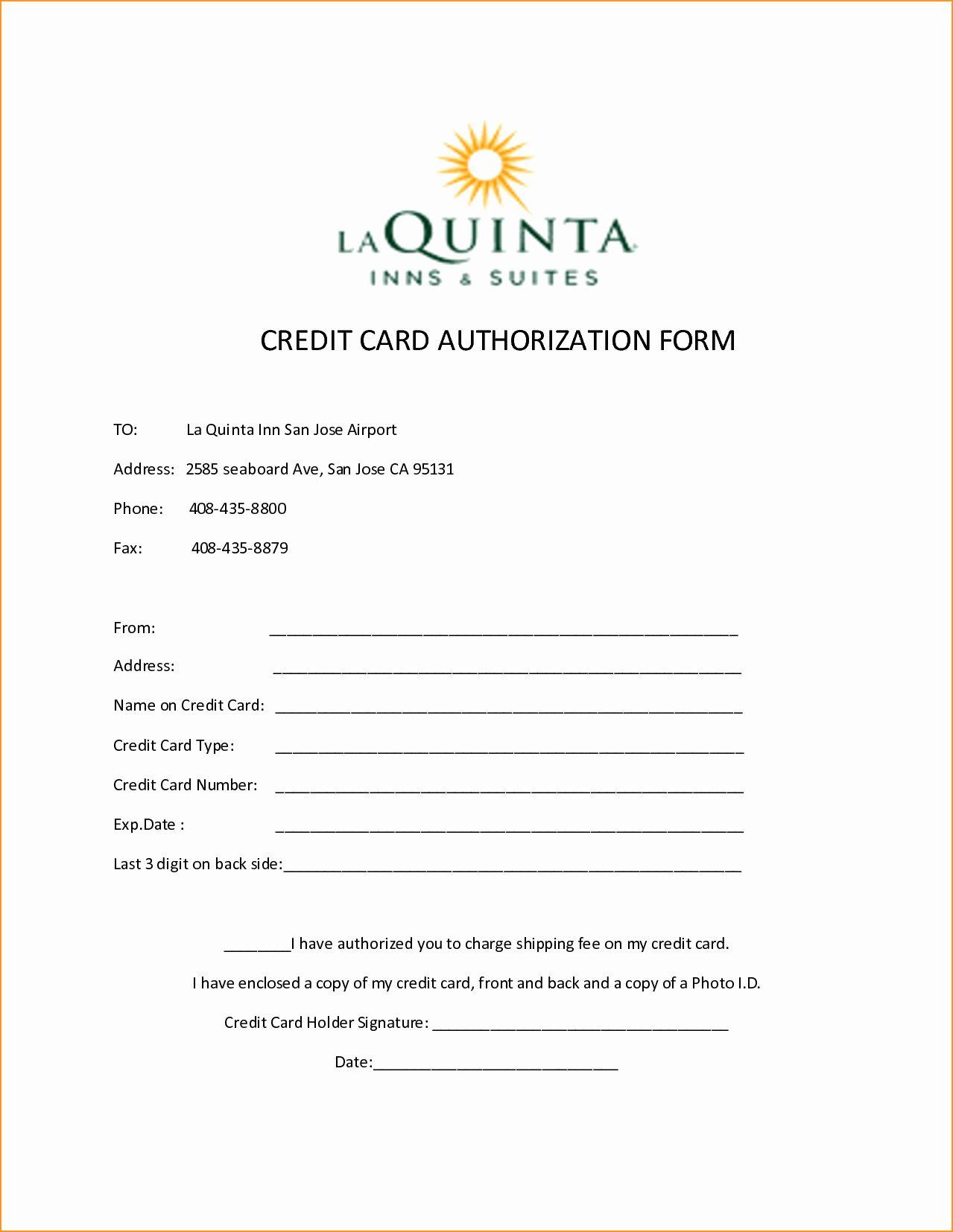 Credit card authorization form template elegant 10 credit