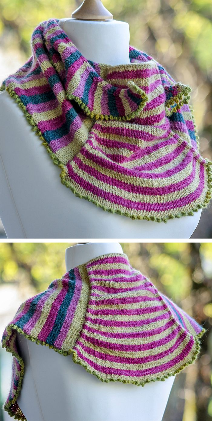 Knitting Pattern for Skye Shawl - This striped shawlette is knit in ...