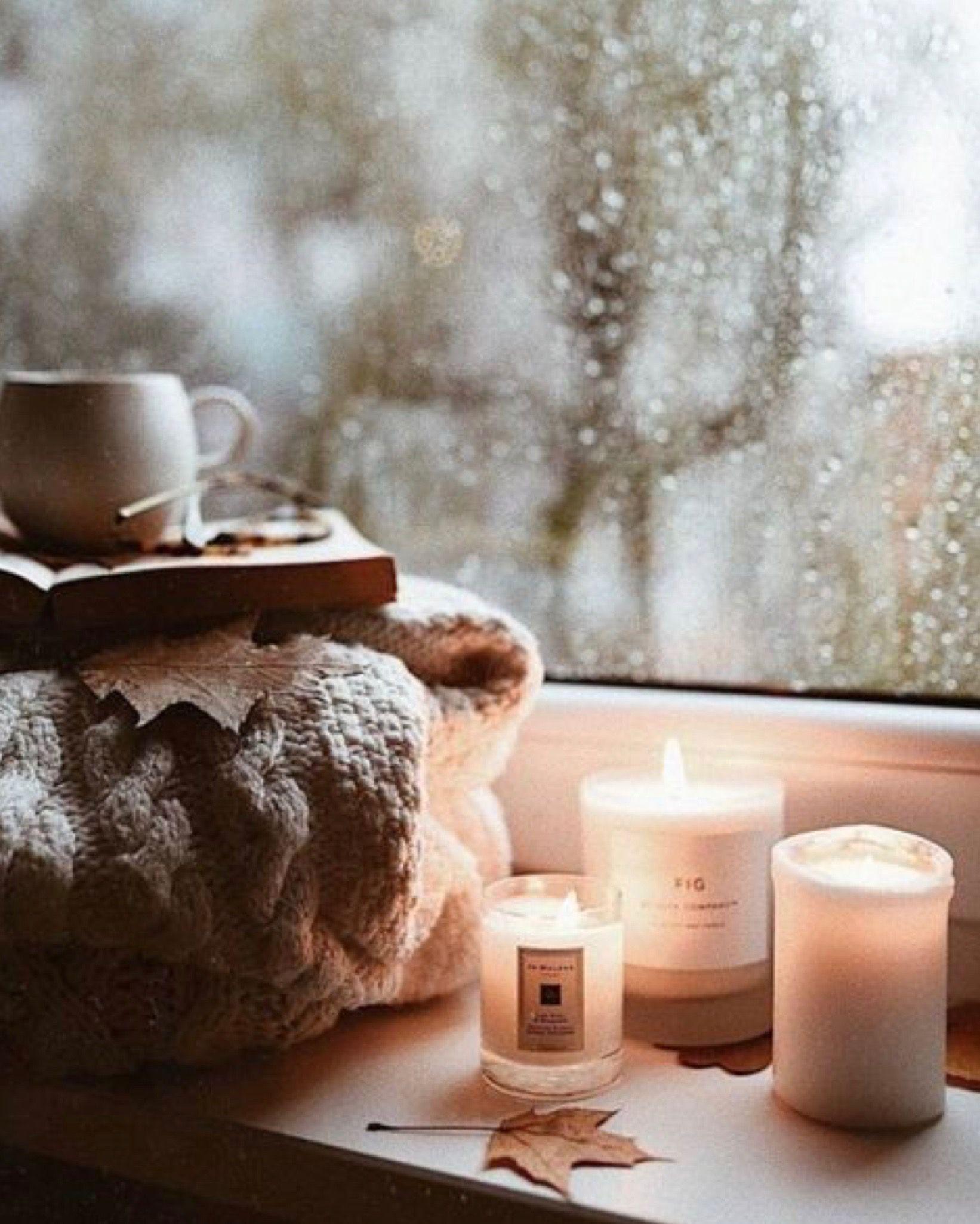 lit candles, coffee, rain, window, blanker Candle