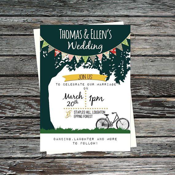 garden country printable wedding invitation set tree loubee