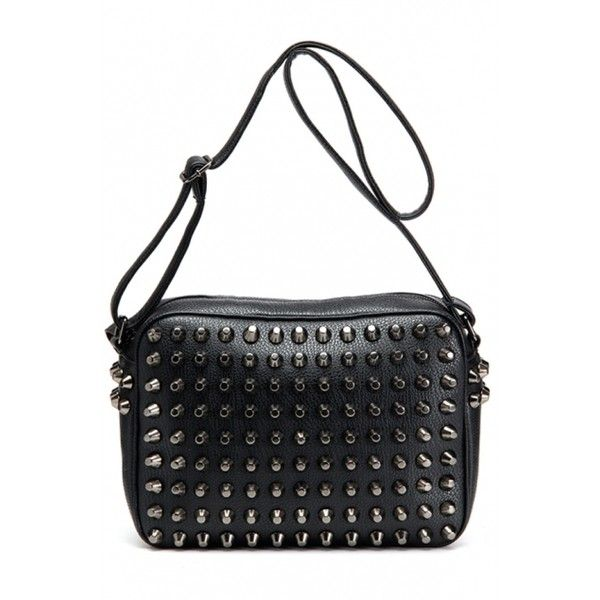 PU Riveted Handbag (1.330 ARS) ❤ liked on Polyvore featuring bags, handbags, shoulder bags, oasap, bolsas, purses, polyurethane handbags, handbags shoulder bags, pu purse and pu handbags