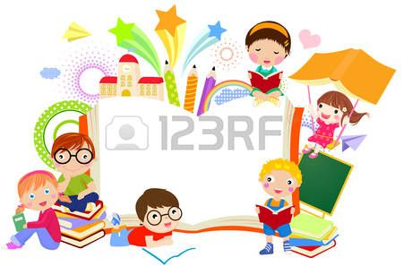 kids reading books cartoon: Kids and book frame   Library