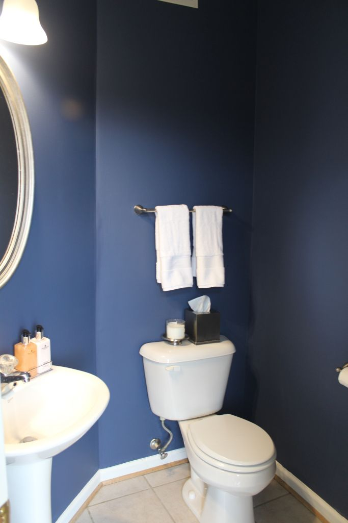 Powder room paint refresh blue powder rooms powder room for Powder blue bathroom ideas
