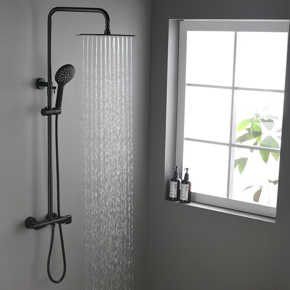Contemporary Exposed Shower System Thermostatic Shower Faucet Matte Black Solid Brass Rainfall Shower Head Hand Shower In 2021 Contemporary Shower Rainfall Shower Head Shower Heads [ jpg ]