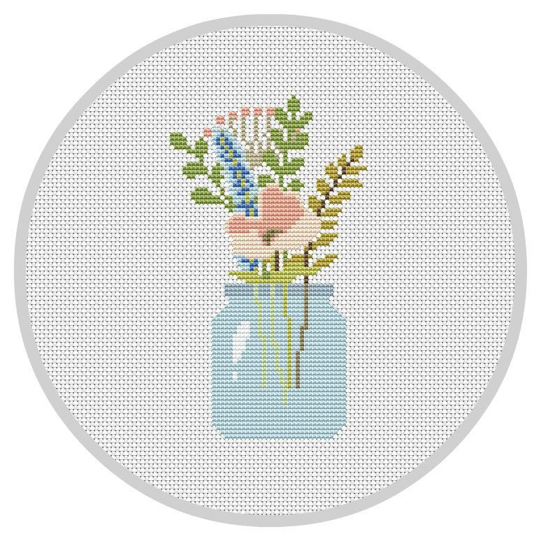 Flowers Cross Stitch Pattern Flower Arrangement Modern Cross