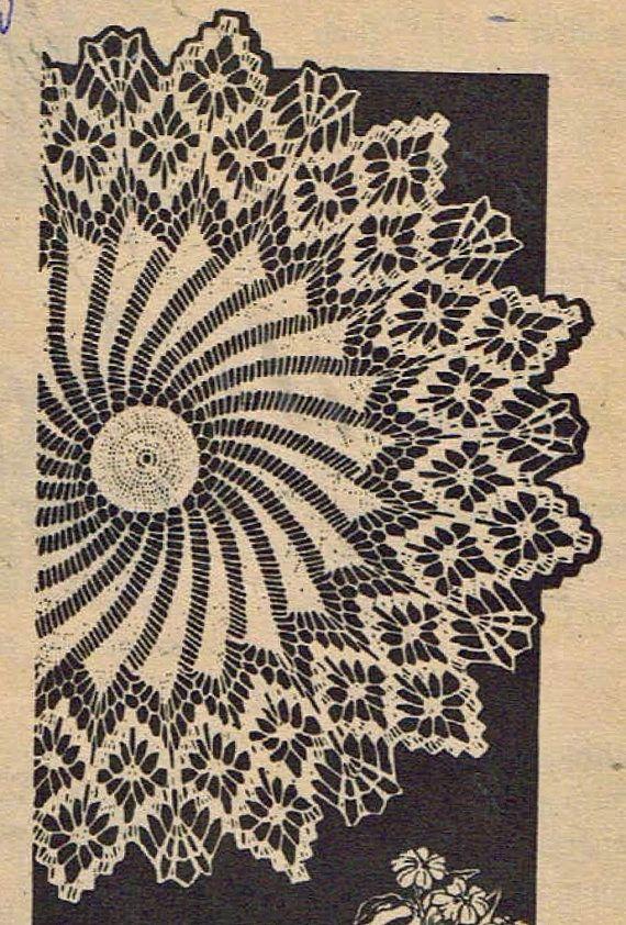 Old Crochet PATTERN 7017 Doily round pinwheel & spider web stitches ...
