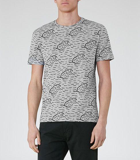 Mens Grey Wave Print T-shirt - Reiss Judge