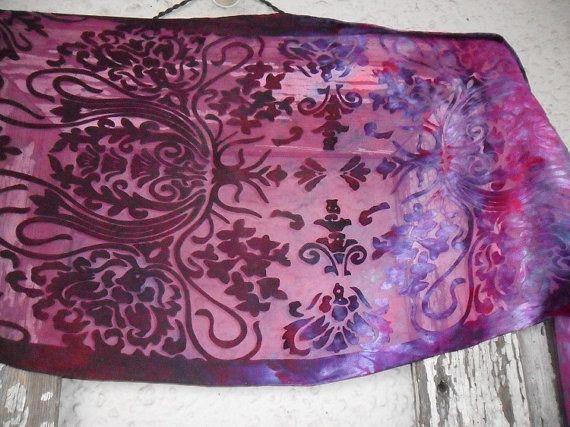 Hand Dyed Silk Devore Scarf with Fringe by ZojjaUniquelyYou, $37.00
