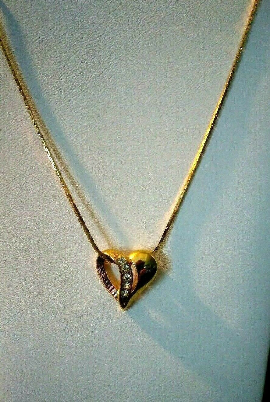 Vintage Gold Plated Heart Necklace 16 Inches 1990 S Etsy Heart Necklace Necklace Vintage Gold