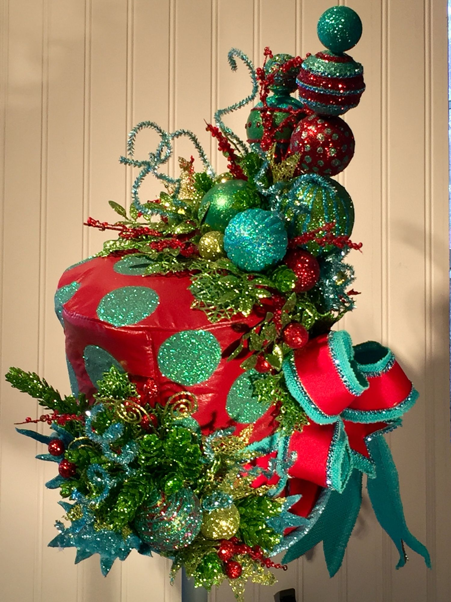 top hat tree topper mad hatter top hat tea party christmas tree topper wonderland holidays centerpiecd