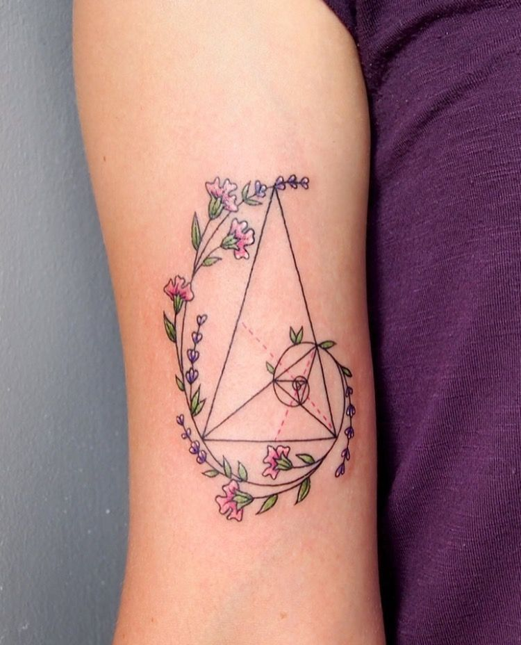 Image result for simple floral geometric tattoo triangle