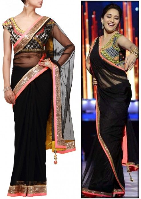 Black Net Saree With Embroidered Blouse Black Net Saree Indian Outfits Bollywood Fashion