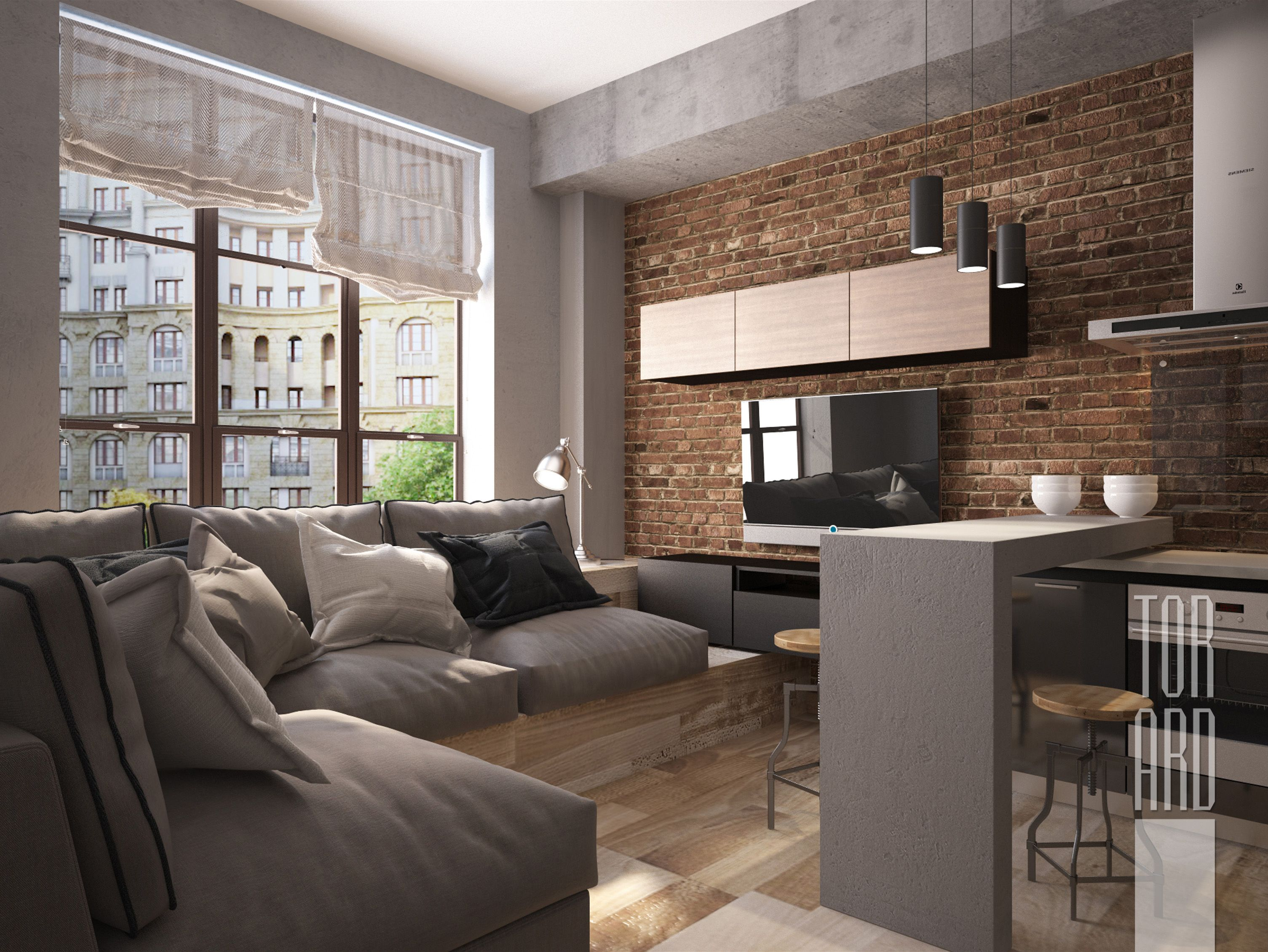 Brick Loft Apartment loft apartments in moscow • brick wall • living room • bachelor