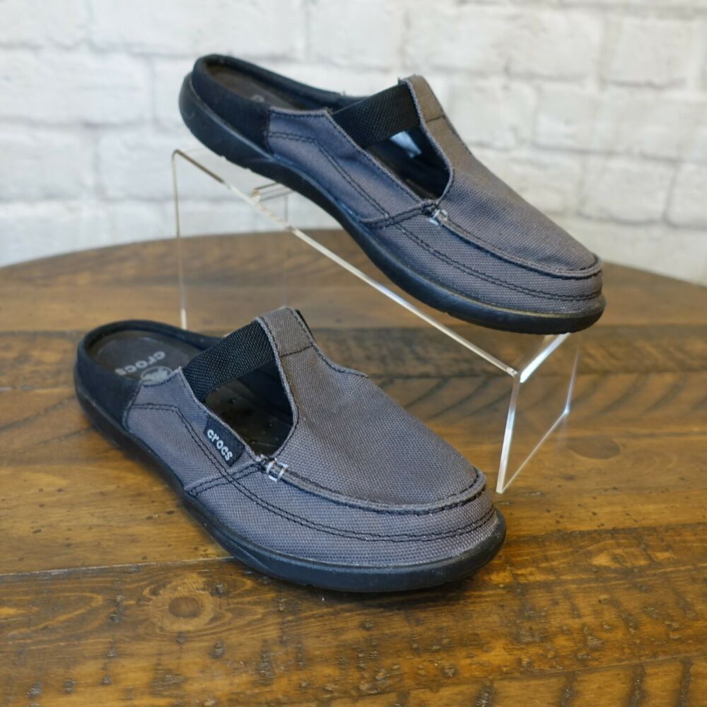 Crocs Walu Mules Slip On Shoes Sz 8W Wide Canvas w Suede