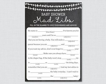 Rustic Winter Baby Shower Mad Libs Printable By ShowerThatBaby | Kimmys Baby  Shower | Pinterest | Mad Libs Printable, Chalkboard Baby Showers And Baby  ...