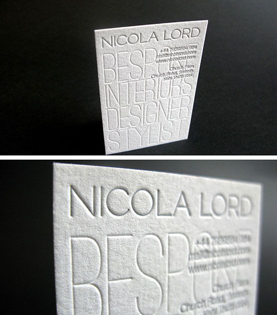 Letterpress Business Card For Interior Designer