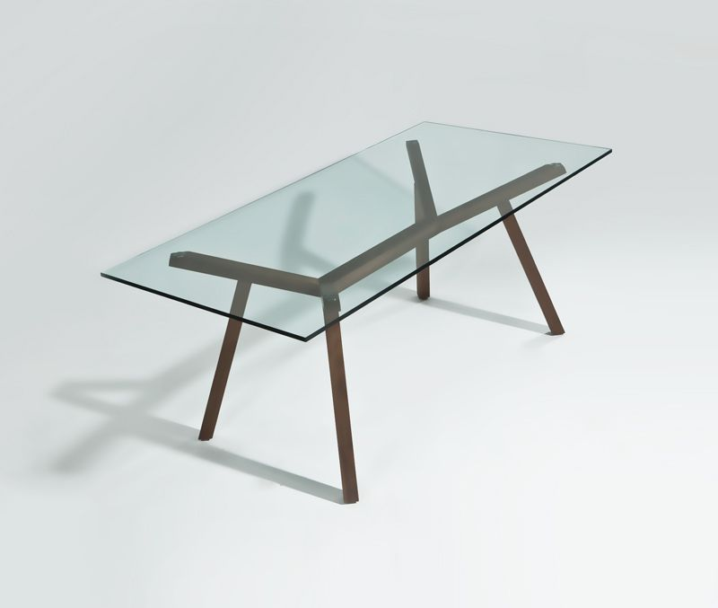 Dining Room. Inspiring Squared Modern Glass Dining Table Design With Wooden  Frame Material With 4