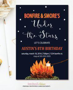 bonfire smore s birthday invitation campfire party backyard