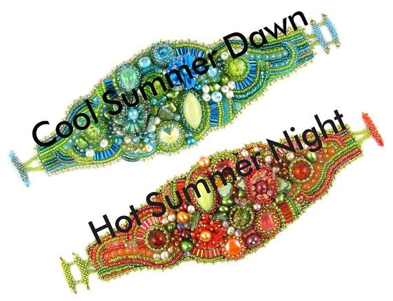 Hot Summer Cool Dawn bead embroidery bracelet instant download pattern, including actual size stitching templates, finishing sizing guides