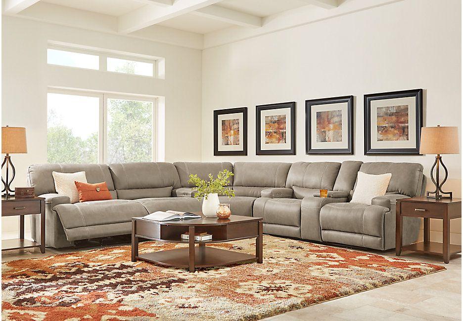 Warrendale Mushroom 3 Pc Power Reclining Sectional Sectional Living Rooms Brown Reclining Sectional Living Room Sets Furniture Living Room Sectional #power #living #room #sets