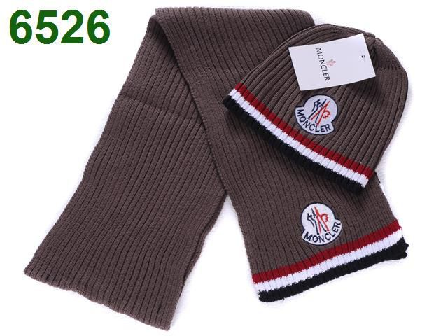 Moncler Scarf & Cap In Brown Red White