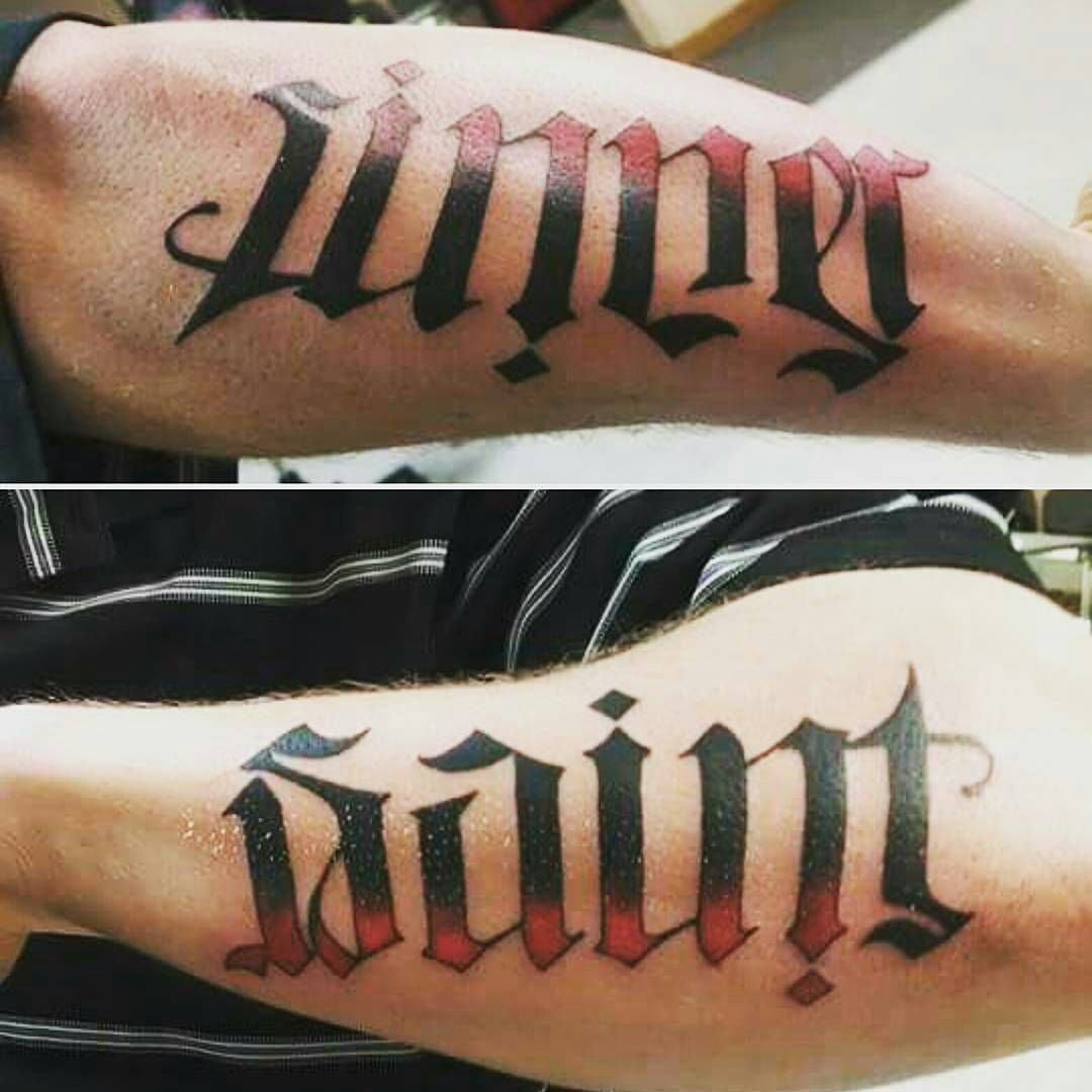 2fe15a3d7 Saint and Sinner Ambigram Tattoo in Red and Black Ombre | Ambigram ...