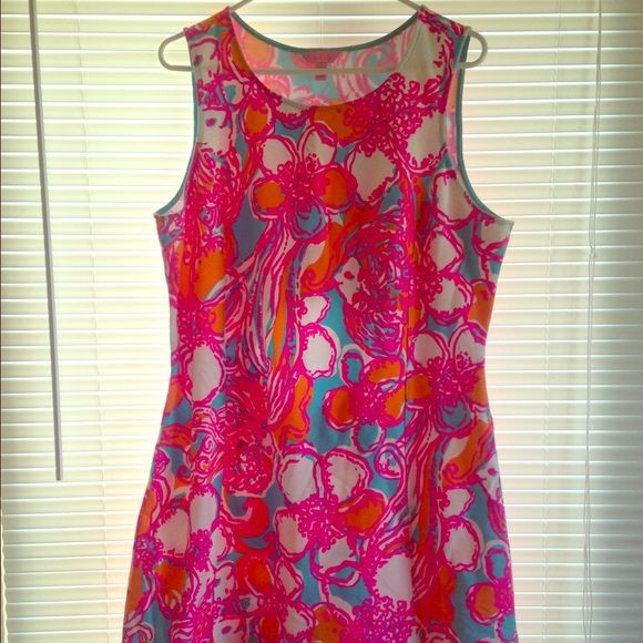 Lilly Pulitzer shift dress This is BRAND NEW and I only wore this ONCE it's in the best condition :) the colors are very bright and very pretty I love it! It just doesn't fit me :) Lilly Pulitzer Dresses Midi