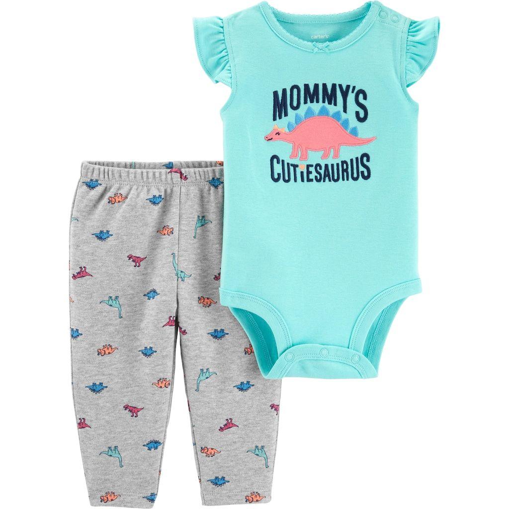 0b6ea81917f19 Baby Girl Carter's Dinosaur Bodysuit & Pants Set, Size: 6 Months,  Turquoise/Blue