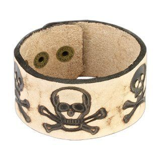 """Brown Leather Braclet with Pirate Skull Design PiercedFish. $14.85. 7.28""""x1.38"""". Brown Leather Bracelet. Adjustable Snap Button Closure"""
