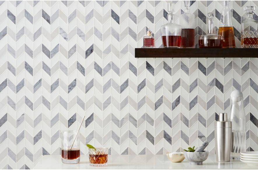 Best Grey And White Chevron Marble Bar Backsplash Backsplash 400 x 300